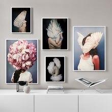 Цветочное крыло перо Модная девушка настенная Картина на холсте