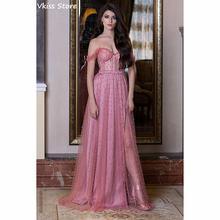Розового цвета вечернее платье трапециевидной формы 2020 новые