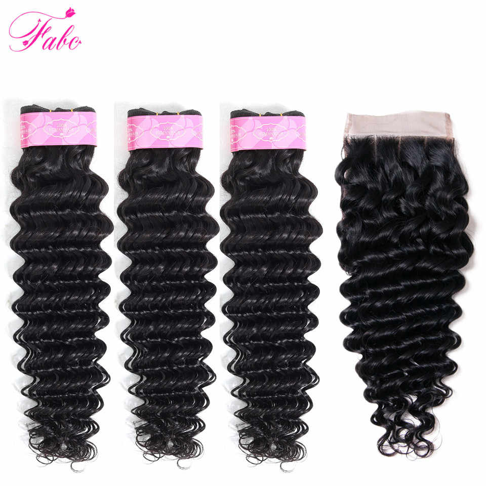 FABC Hair deep wave bundles with closure brazilian hair weave bundles non remy human hair 3 bundles with closure natural color