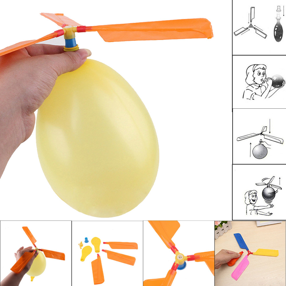 1 Set Random Color Classic Balloons Toys Aircraft Helicopter Party Filler Flying Toy Gifts For Kids Babies Outdoor Funny Toys image