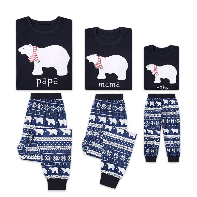2019Y Family Christmas Pajamas Clothes Set Long Sleeve Parent-child Suit Print Bear Shirt+Pants Christmas Pajamas  Parent-child