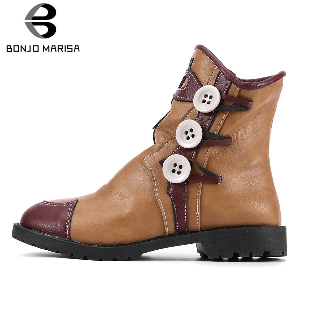 BONJOMARISA New Big Size 34-43 Ethnic Booties Ladies Fashion Retro Patchwork Ankle Boots Women 2019 Winter Add Fur Shoes Woman