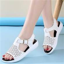 Summer new style leather sandals hollow-out flat shoes for women