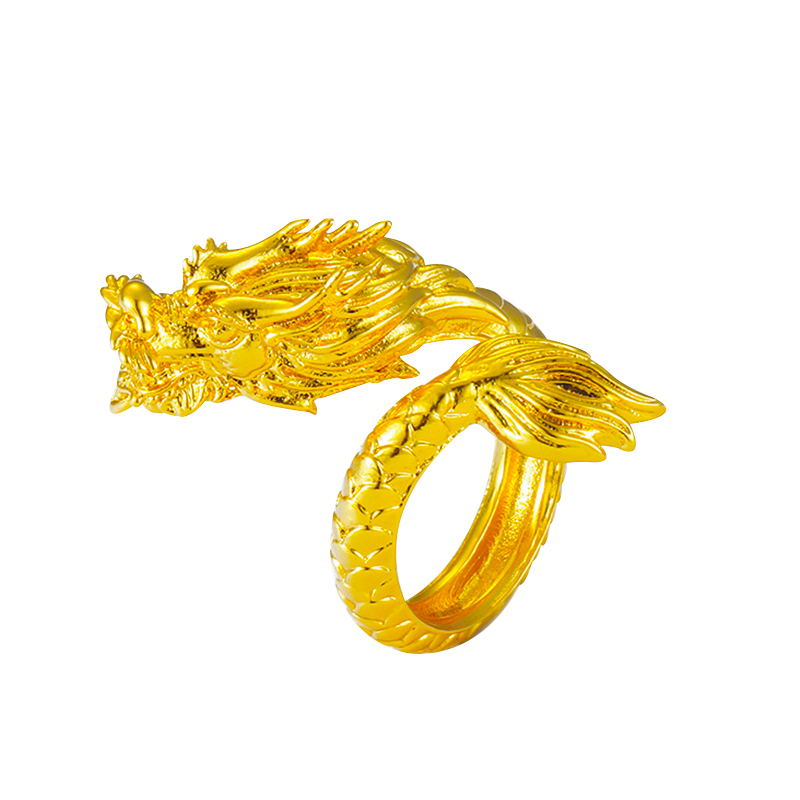Vietnam Alluvial Gold Retro Domineering Dragon Ring Mens Wedding Open Rings Adjustable Luxury Jewelry Wholesale