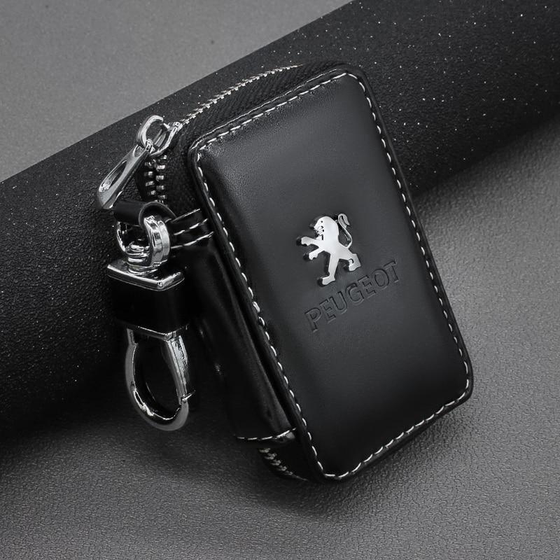 Leather Key Wallets Zipper Car Key Holders Buckle Key Case Housekeeper Holder For Peugeot 107 108 206 207 308 307 508 2008 3008