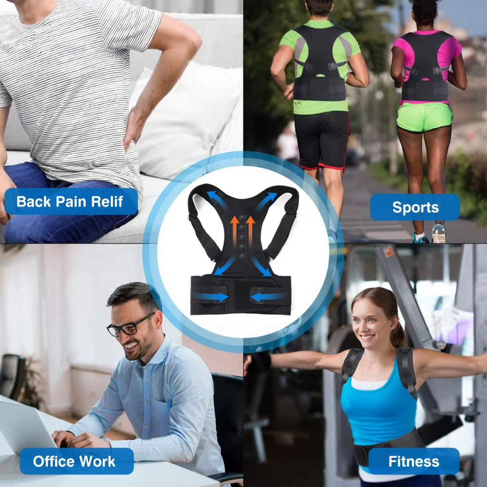 Adjustable Posture Belt to Pull Shoulder and Back for Correct Posture also Provides Central Back Support with Magnetic Contact  in Spine and Lumber Region 2