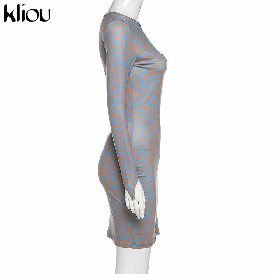 Kliou 2020 גבוהה אלסטי מונוכרום הדפסה ארוך שרוול bodycon שמלת אישה חדש מקרית streetwear המפלגה מיני שמלת mujer