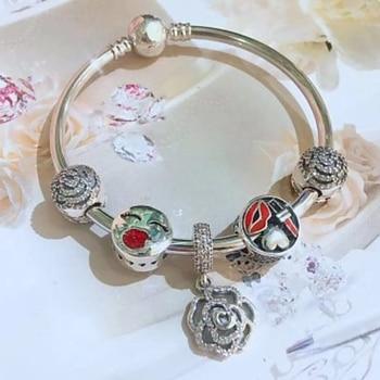 NEW 100% 925 Sterling Silver Flower Charm Heart Lady Clip 5 Charm Bead Bracelet Set Planet of Charm Astronaut Bangle Love Charm фото
