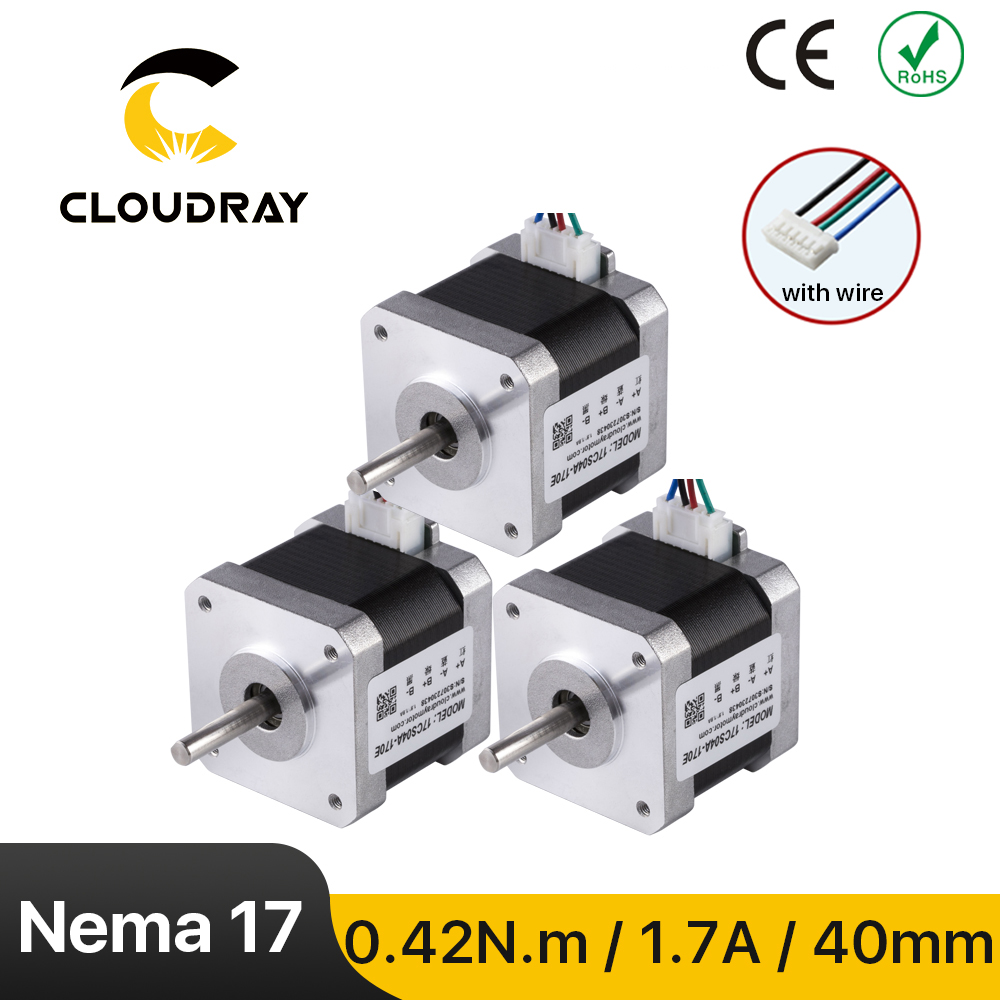 Cloudray nema 17 motor deslizante 42ncm 1.7a 2 fase 40mm motor deslizante 4-lead para impressora 3d cnc gravura fresadora
