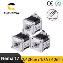Cloudray Nema 17 Stepper Motor 42Ncm 1,7 EINE 2 Phase 40mm Stepper Motor 4-blei für 3D drucker CNC Gravur Fräsen Maschine