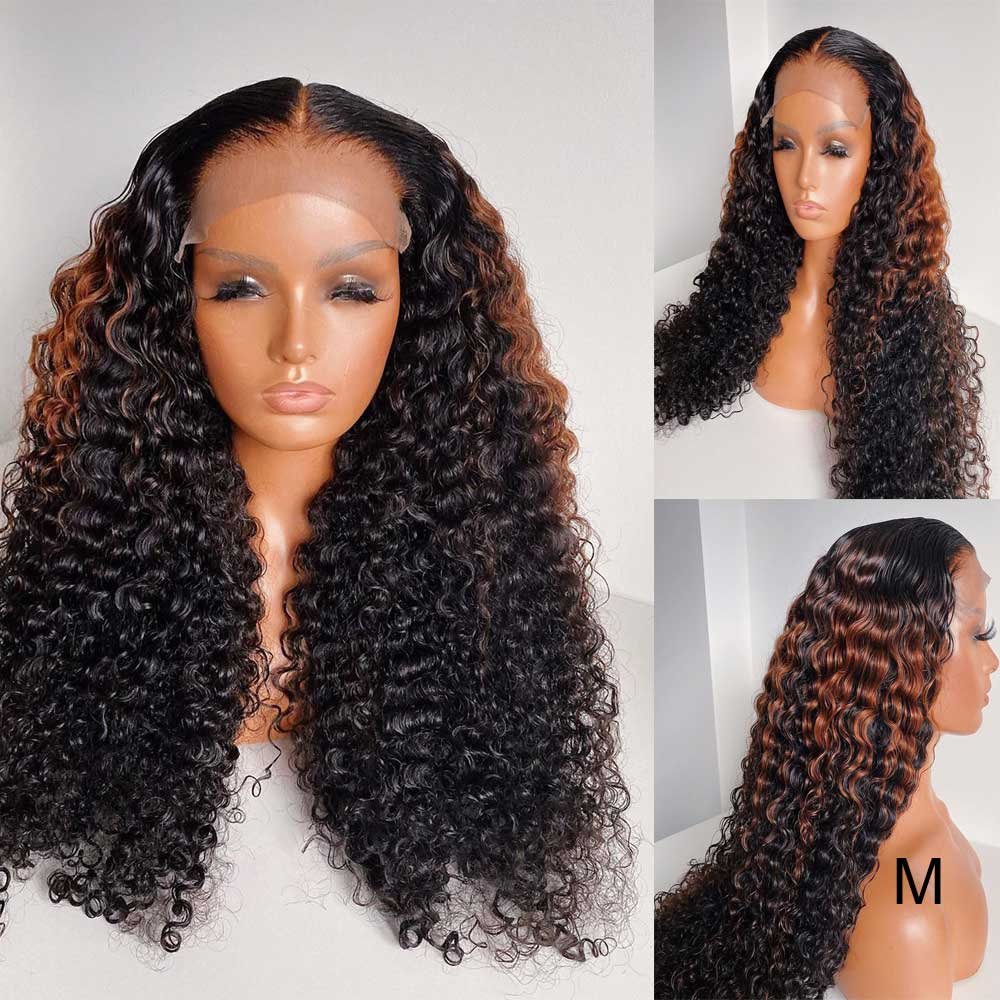 Kinky Curly 130 150 180 Density Full Lace Wig Pre Plucked Brazilian Remy Ombre Colored Highlight Swiss Lace Wig With Baby Hair