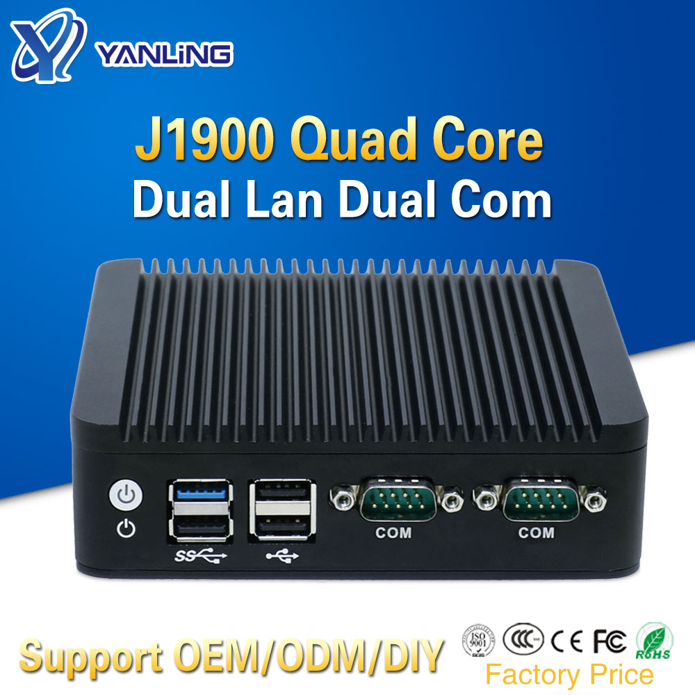 2 Ethernet Mini Pc Intel J1900 Quad Core Mini Itx Case Fanless Desktop Computer Support 128gb SSD Emmc 4gb Ram For Windows 10