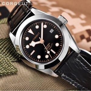 Image 4 - Corgeut 41mm Luxury Brand Military Mechanical Mens Watch Luminous Sport Diver Clock Leather Strap Wristwatch Men