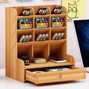Image 1 - Multi fonction bois 13 grilles socle de bureau support cosmétique brosse boîte de rangement pour crayon stylo cosmétique brosse bijoux présentoir