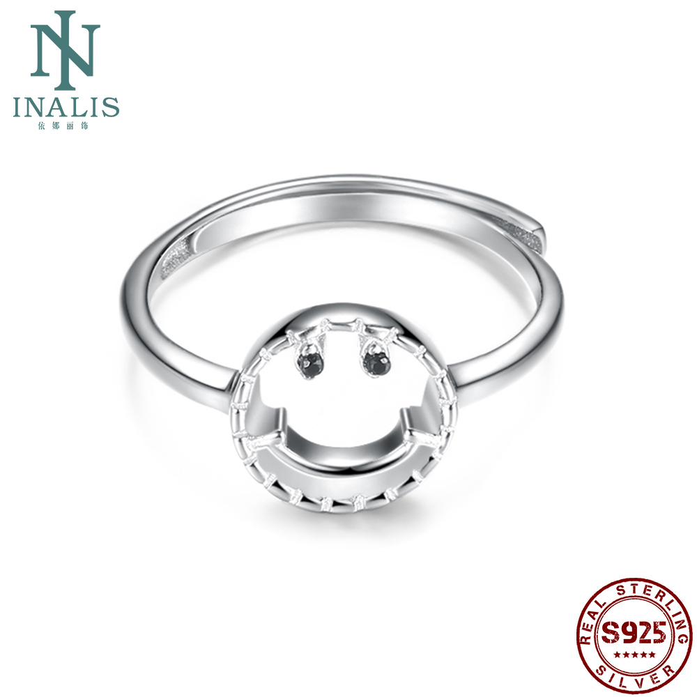 INALIS 925 Sterling Silver Rings For Women Round Smiling Face Rings Anniversary Romantic Silver Jewelry Trend The New Listing