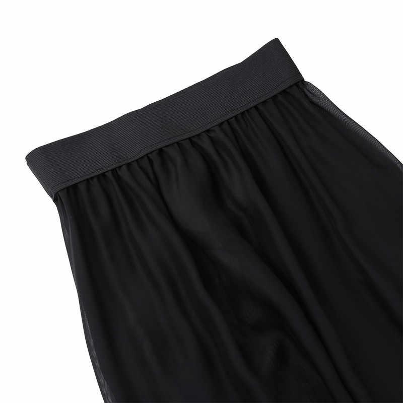 Lato Sexy kobiety moda Sheer szyfonowa Spódnica na plażę przepuszczalność Flowy Split długi Maxi spódnica plaża strój kąpielowy Cover Up spódnica