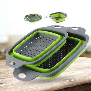 Square Draining Basket Collapsible Colander Silicone Kitchen Storage Bag Fruit and Vegetable Basket Folding Filter WF6151432(China)