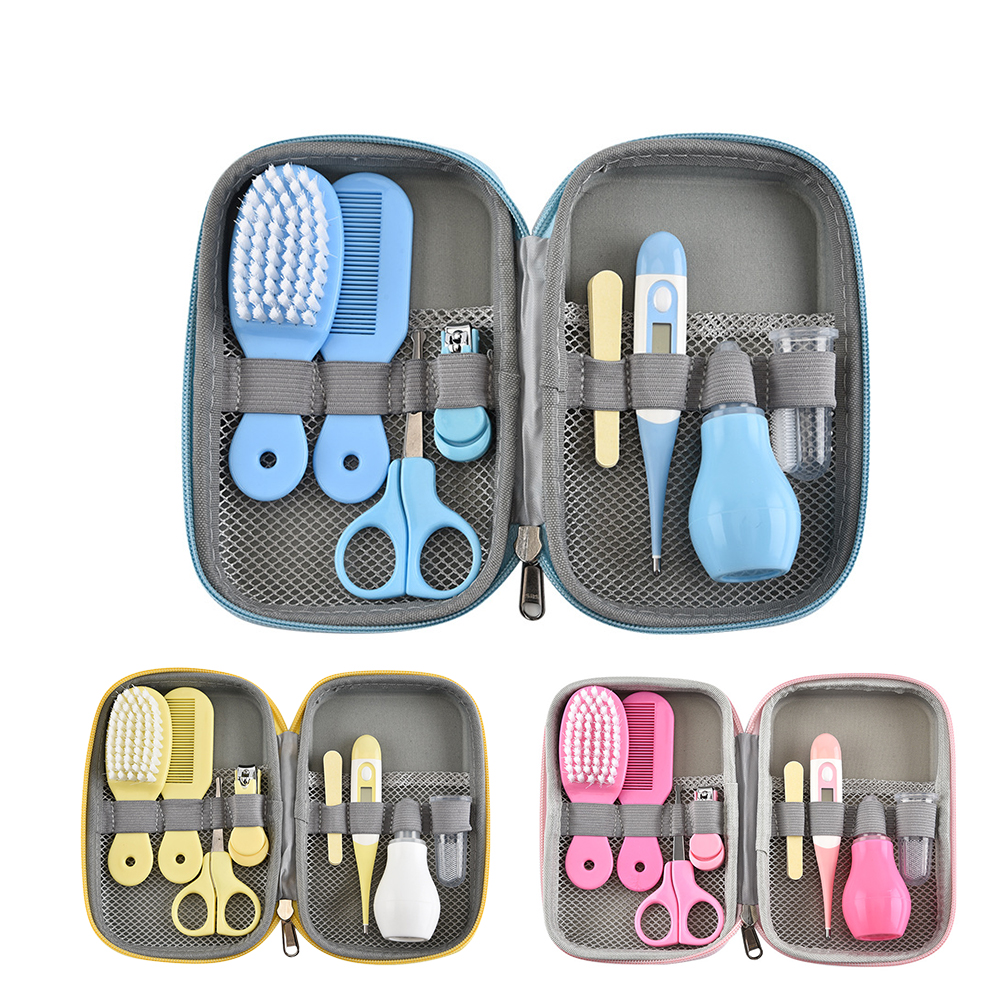 8pcs/Set Multifunction Newborn <font><b>Baby</b></font> Kids Nail <font><b>Health</b></font> Care Thermometer Grooming Brush Kit Healthcare Accessories Toiletries Set image