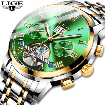 2020 LIGE Automatic Mechanical Mens Watches Top Brand Luxury Watch Men Tourbillon All Steel Waterproof Clock Relogio Masculino kinyued perpetual calendar watch men luxury fashion tourbillon mens mechanical watches automatic top brand man wristwatches