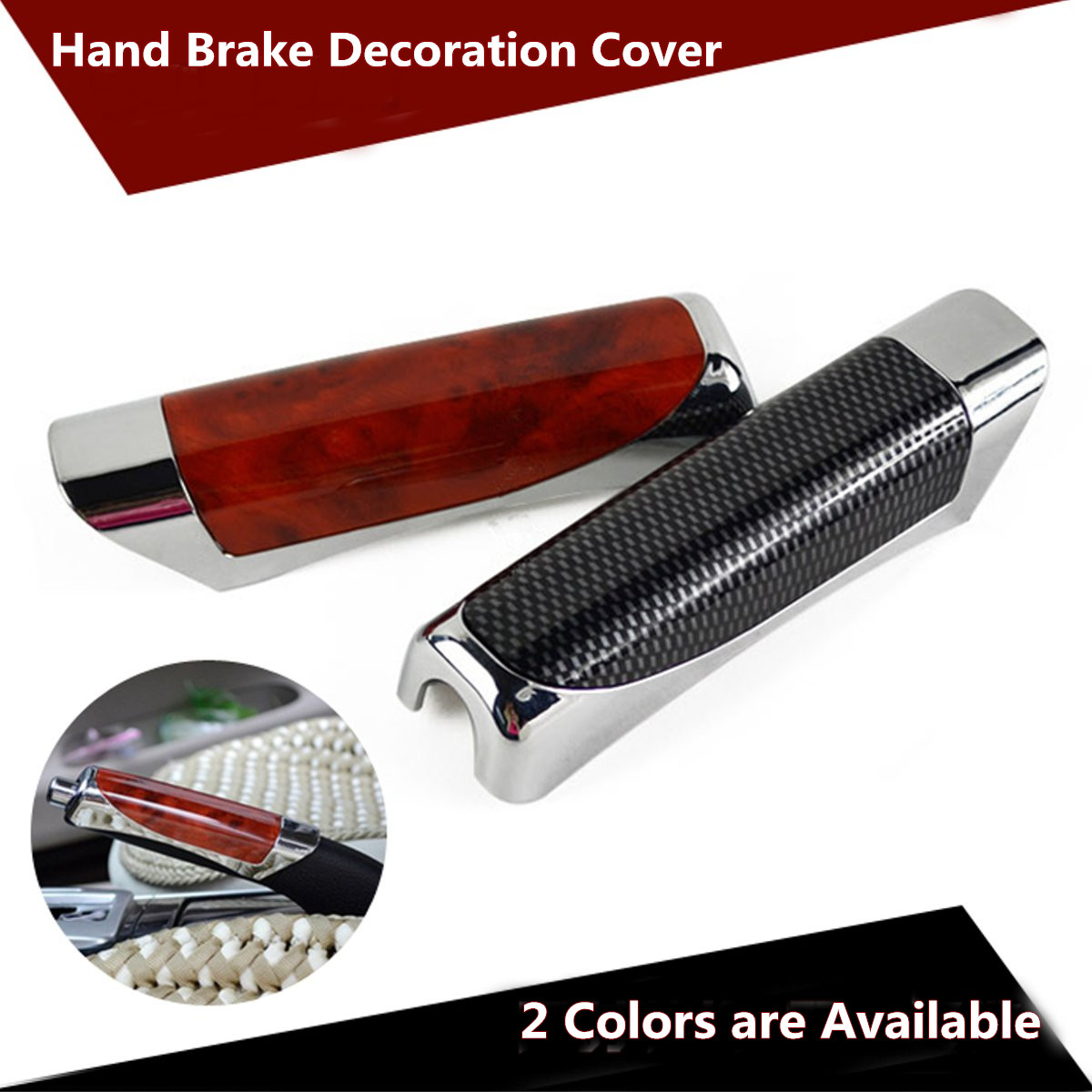 Universal Car Carbon Fiber Style Decoration Hand Brake Protector Cover Sleeve Case Car Accessory Black Red 12.5cm X 3.5cm