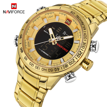 NAVIFORCE Men Clock Gold Watch Mens Digital LED Sport Wristwatch Men's Quartz Dual Display Waterproof Watches Relogio Masculino