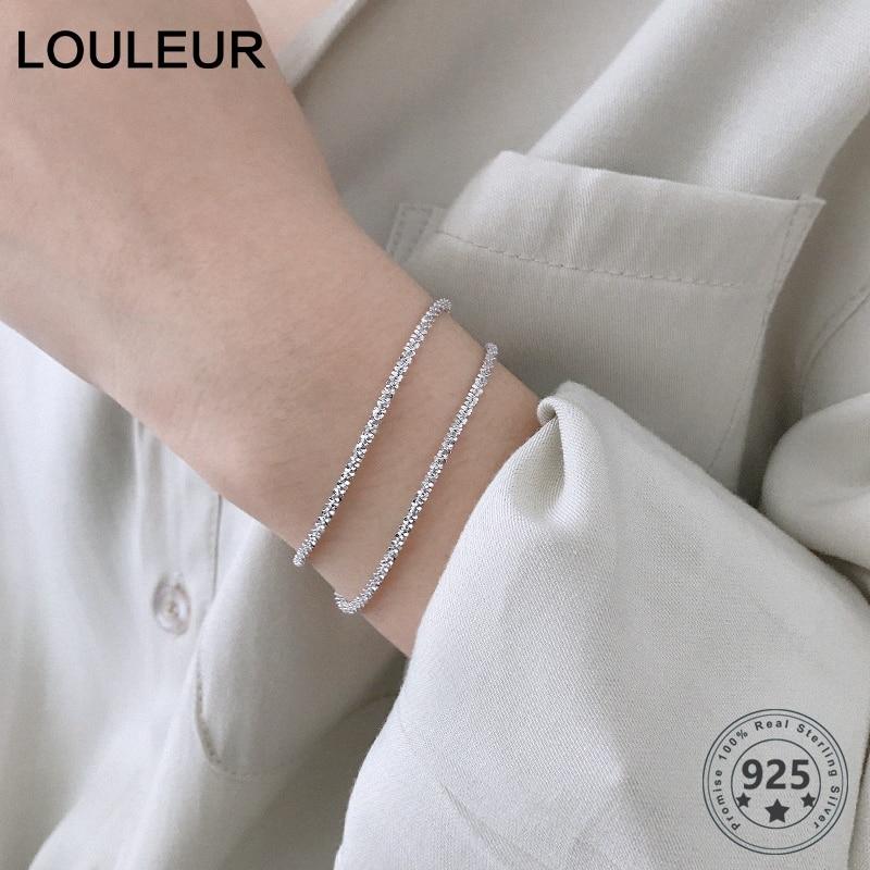 LouLeur Real Sterling 925 Silver Elegant Bracelet Shining Gold Female Bracelets For Party Women Fine Silver Jewelry Sister Gifts