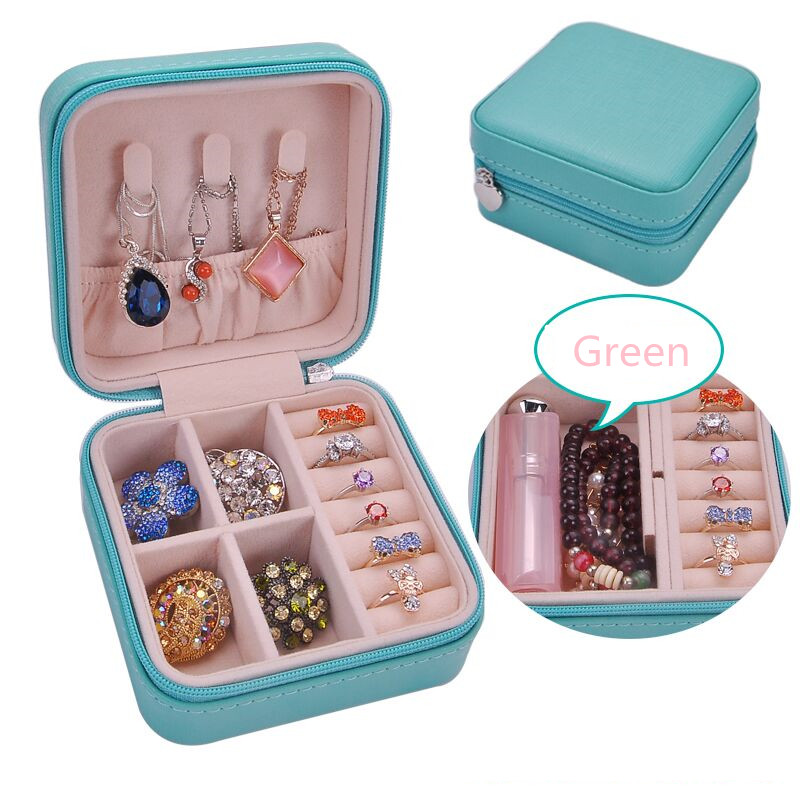 2019 Protable Waterproof Leather Candy Color Carry Storage Box Ring Holder  Flannel Multi-function Jewelry Display