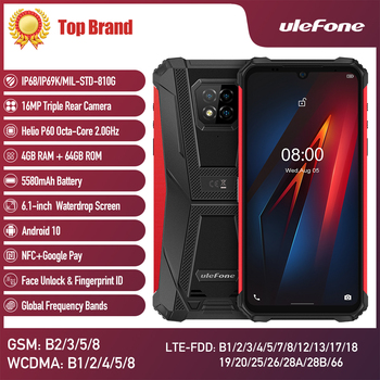 Перейти на Алиэкспресс и купить Ulefone power 8 прочный IP68 Водонепроницаемый Смартфон Android 10 4 Гб 64 Гб Восьмиядерный 5580 мА/ч, 2,4G/5G Wi-Fi 6,1 дюймNFC 4 аппарат не привязан к оператору сотовой с...