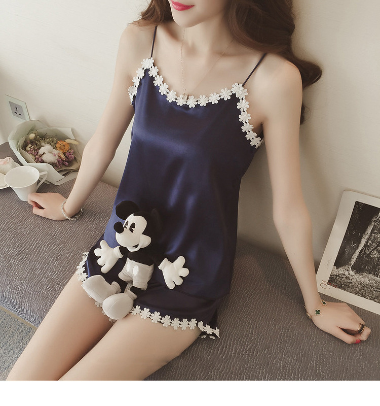 Imitated Silk Fabric Spaghetti Strap Pajamas Female Summer Korean-style Piece Sexy WOMEN'S Pajamas New Products Home Wear Viscos