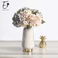 Erxiaobao Artificial Flowers Cheap Silk Hydrangea Bouquet Home Indoor Wedding Autumn Decoration Accessories Fall Decor