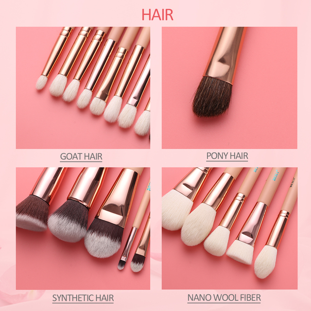 BEILI Pink Makeup Brushes High Quality Powder Foundation Blush Eyeshadow Make Up Brush Set  Natural Hair  brochas maquillaje 4