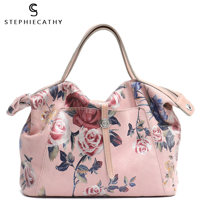 SC Luxury Flower Print Leather Handbag For Women Fashion Ladies Genuine Leather Top Handle Tote Front Pocket Femal Crossbody Bag