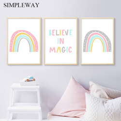 Colorful Rainbow Wall Art Picture Child Poster Nordic Canvas Magic Nursery Quotes Print Painting Baby Girls Bedroom Decoration