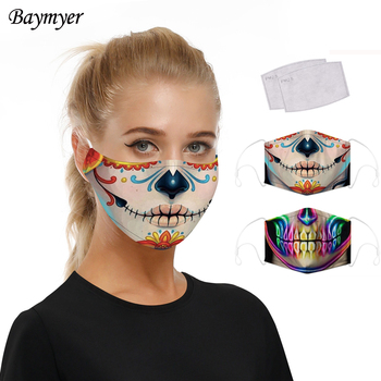 Horror Skull Printing Mouth Mask With Filters For Adult Women Men Protective Dust Masks Face Cover Cosplay Costume Mouth-Muffle