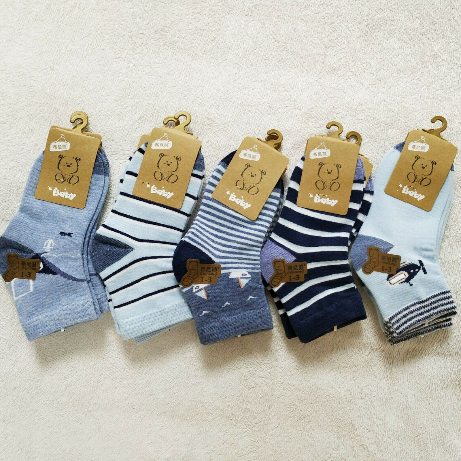 5 Pairs/Lot Cotton Children Socks Boy Socks Girl Socks Cute Cartoon Stripes Spring Autumn Summer