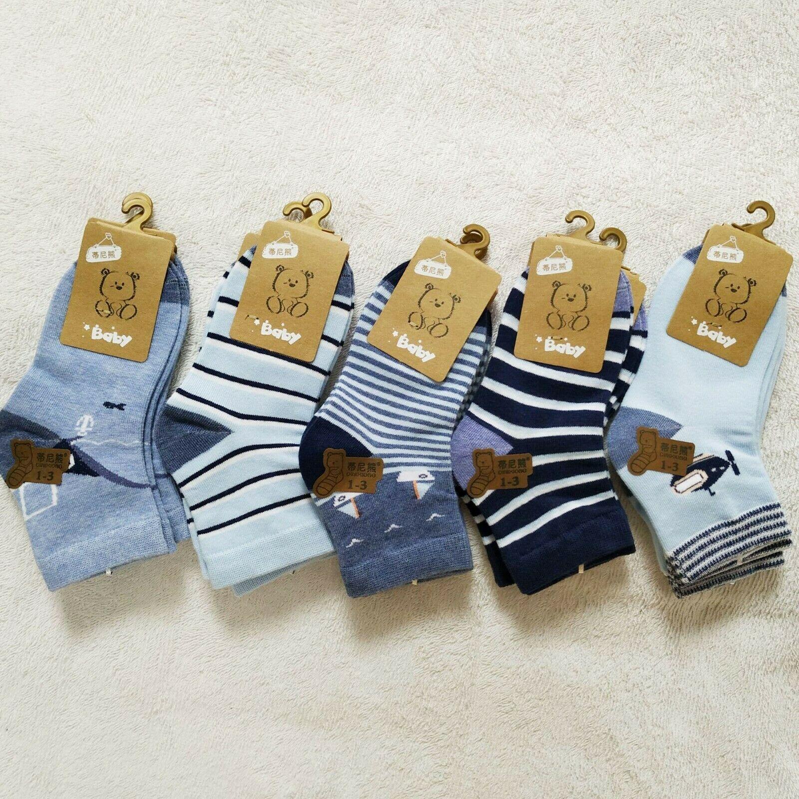 5 Pairs/Lot Cotton Children Socks Boy Socks Girl Socks Cute Cartoon Stripes Spring Autumn Summer
