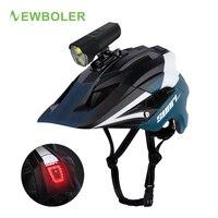 NEWBOLER LED luz casco de bicicleta recargable ciclismo casco MTB Casco de Bicicleta de carretera soporte del faro deporte seguro sombrero para hombre y mujer