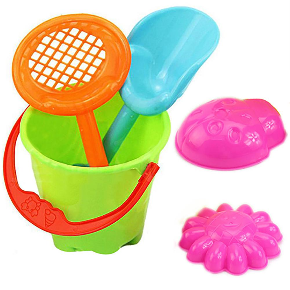 5pcs/Set Kids Outdoor Sandbeach Toys Bucket Shovel Toddler Kids Children Beach Sand Toy Set Kids Plastic Beach Toys