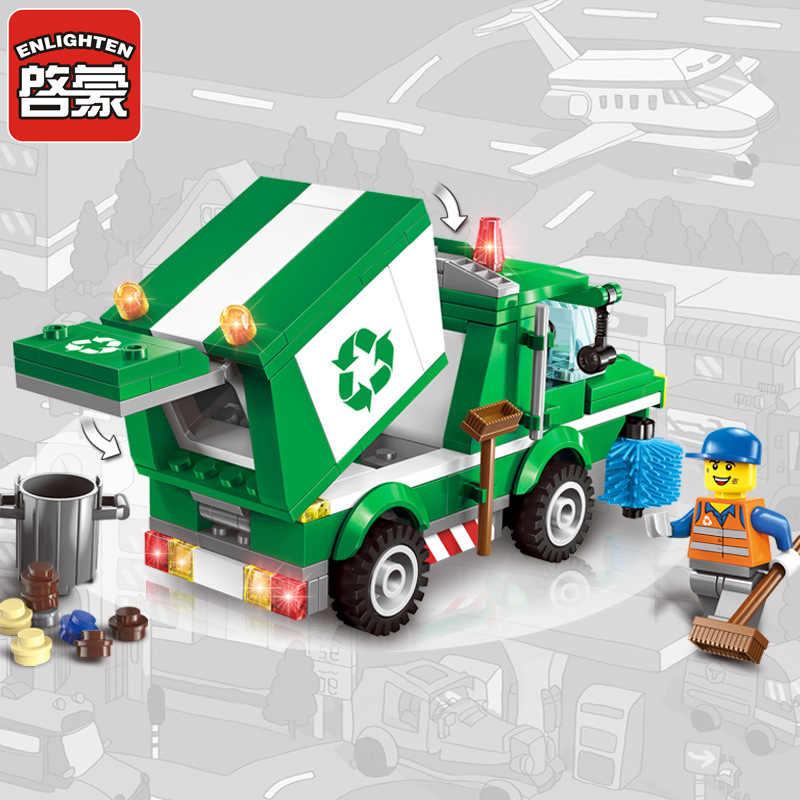 1111 город санитария мусоровоз Строительные блоки DIY фигурки Кирпичи игрушки для детей совместимы с Legoinglys
