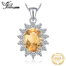 JewelryPalace 2.3ct Princess Kate Diana Natural Citrine Pendants For Women 925 Sterling Silver Jewelry On Sale Without a Chain