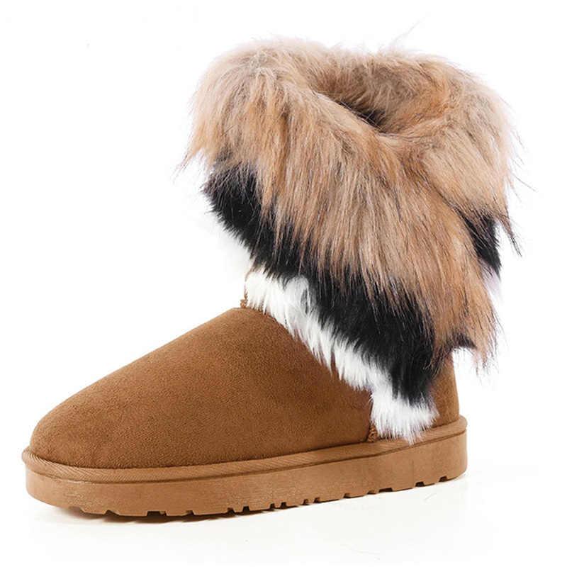 Botas de neve de inverno botas de pele do falso botas de tornozelo feminino deslizamento-on quente sapatos de moda senhoras plana calçados confortáveis mais tamanho