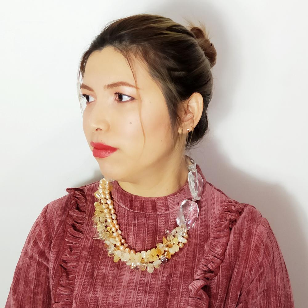 LiiJi UniqueWomen énorme collier véritable Citines rose perle d'eau douce avec grand cristal 5 rangées Unique collier fermoir à bascule 52cm