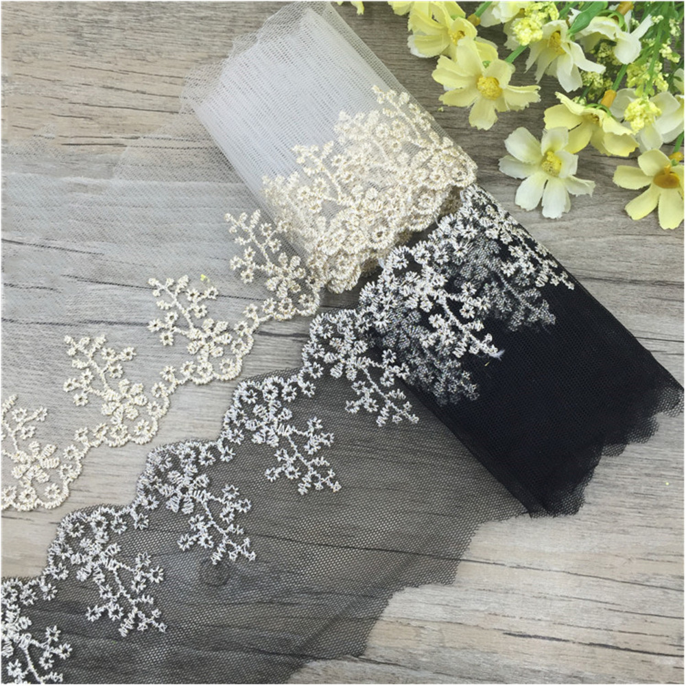 8.5CM 14Yards Width Fashion Quality Handmade DIY Trim Flowers Tulle Mesh Lace Clothes Accessories Curtains Sofa Sewing Lace