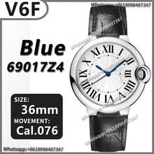 Montre mécanique de luxe pour hommes, 36MM Ballon Bleu V4 SS V6F 1:1, meilleure édition, cadran texturé, bracelet en cuir de vache noir, réplique AAA Cal.076