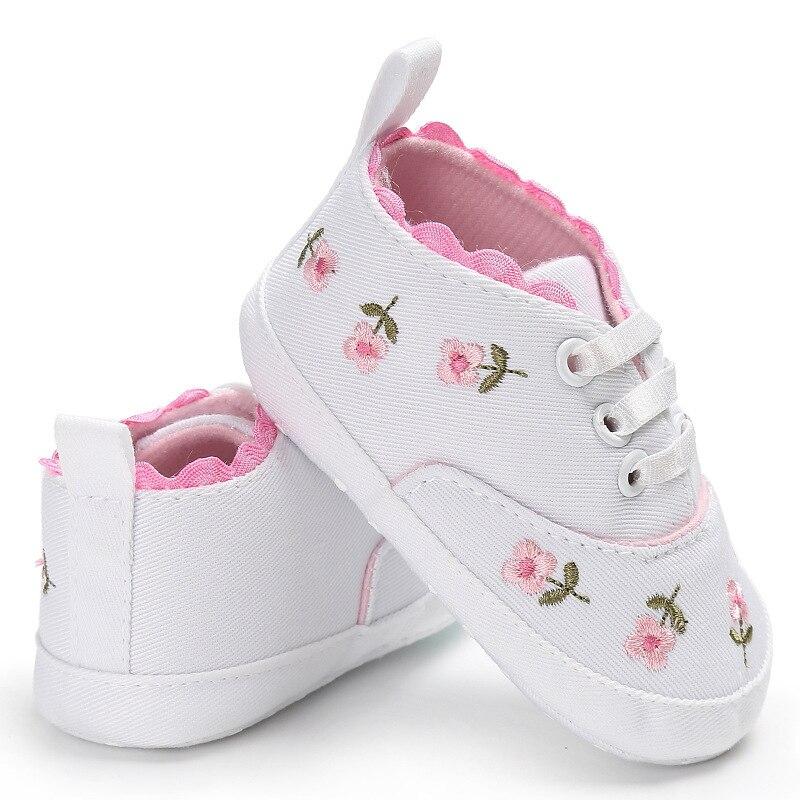 0-18 mois premiers marcheurs enfant en bas âge bébé fille Floral brodé chaussures souples pour nouveau-né chaussures de marche 2