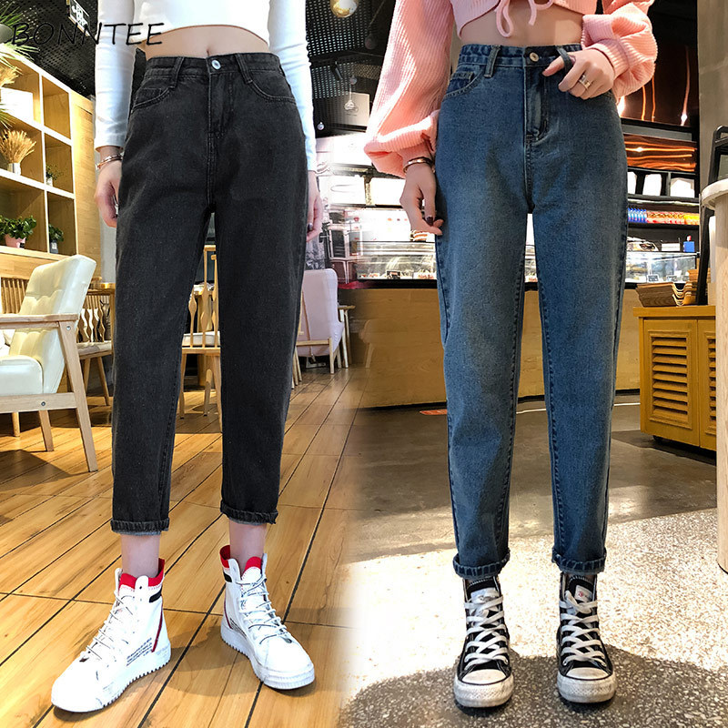 Jeans Women Plus Size Denim Solid Vintage Womens High Waist Trousers Ankle-length All-match Females BF Loose Ulzzang Streetwear