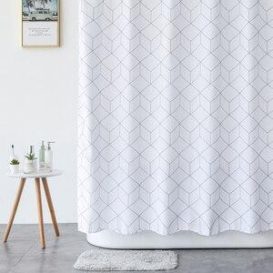Image 2 - Aimjerry rideau de douche en tissu pour baignoire blanc et gris, pour salle de bain, avec 12 crochets, 71W x 71H, imperméable et anti moisissures de haute qualité 041