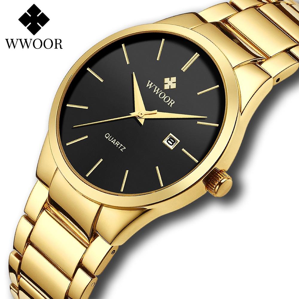 relojes hombre 2020 WWOOR Gold Watch Men Luxury Mens Quartz Wristwatch Business Watch Stainless Steel Waterproof Auto Date Clock|Quartz Watches| - AliExpress