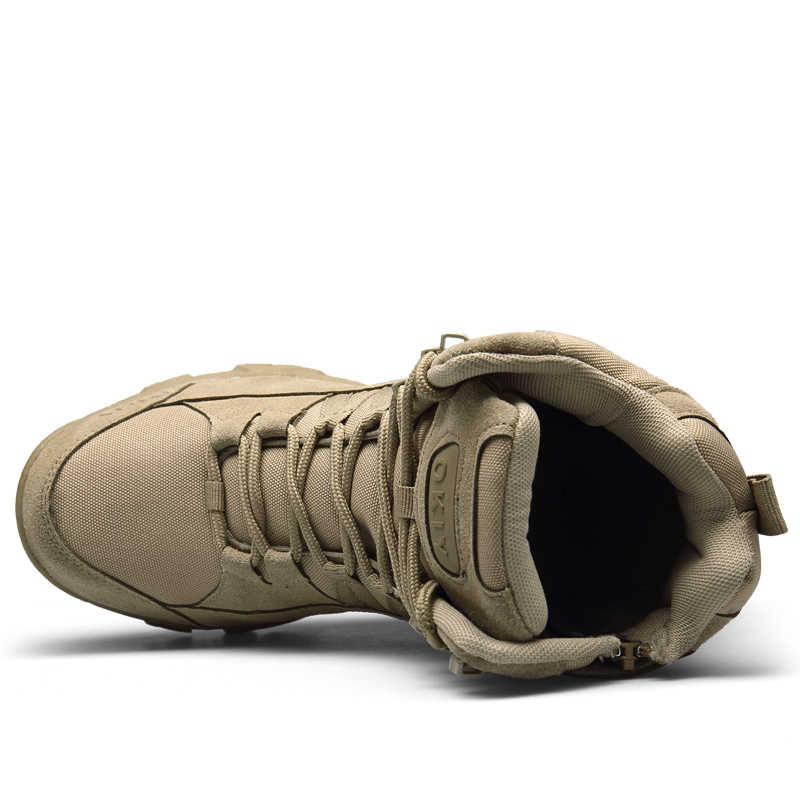 Asker botu askeri botlar erkekler taktik çizmeler Zip ordu taktik çöl savaş botları güvenlik ayakkabı kar deri kış sonbahar kahverengi