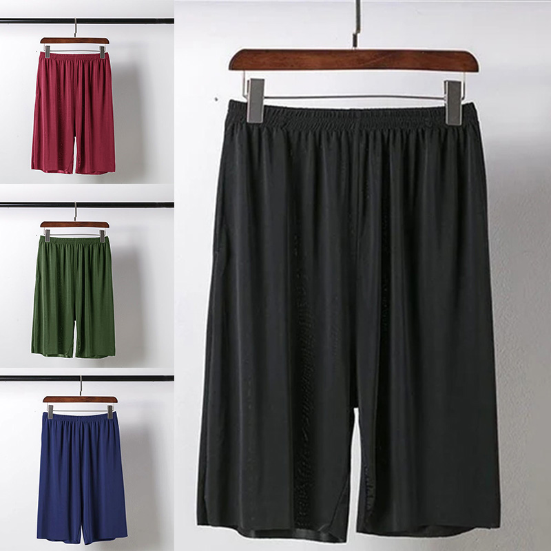 Ice Silks Quick Drying Men Casual Pants Shorts with Pocket Daily Home Travel Summer Beach Shorts FS99